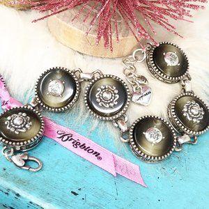 Brighton Chinoise Round Link Silver Gray Bracelet